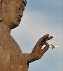 buddah grabs plane
